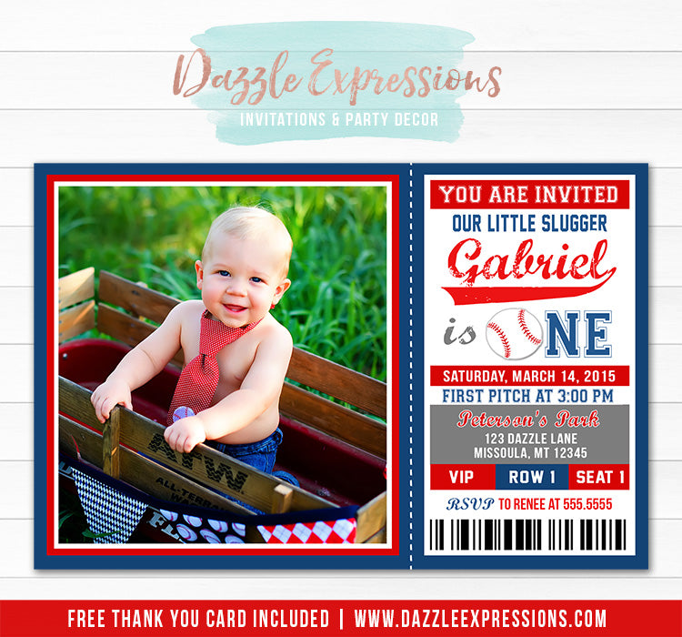 Baseball Ticket Birthday Invitation 3 - Thank You Card Included