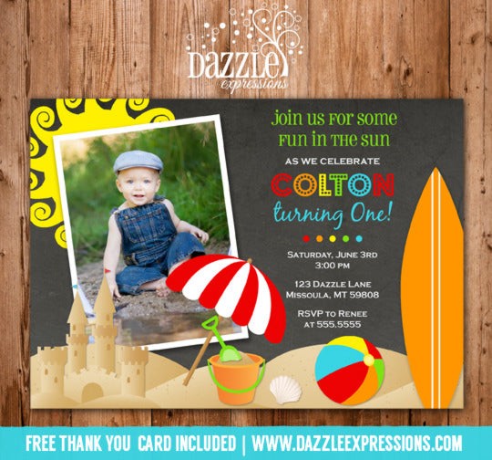 Beach Party Chalkboard Invitation 1 - FREE thank you card included