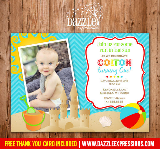 Beach Party Invitation 1 - Thank You Card Included
