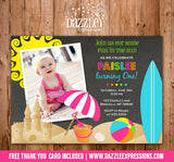 Beach Party Chalkboard Invitation 2 - FREE thank you card included