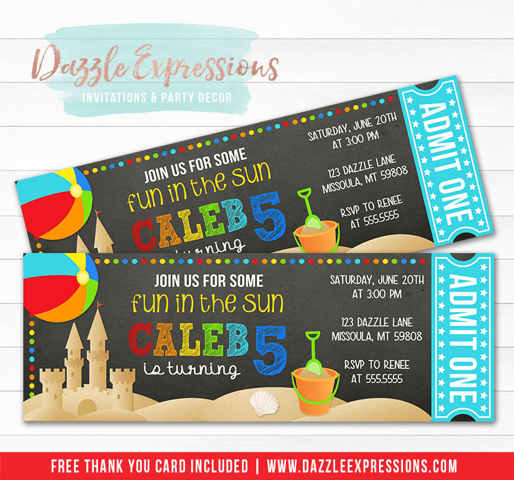 Beach Chalkboard Ticket Invitation 1 - FREE thank you card included