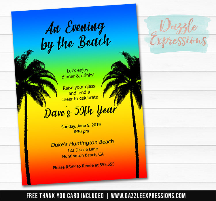 Beach Ombre Invitation 3 - FREE thank you card