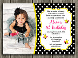 Bee Birthday Invitation 1 - Thank You Card Included