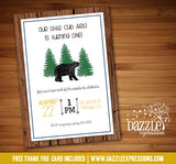 Black Bear Birthday Invitation - FREE thank you card included