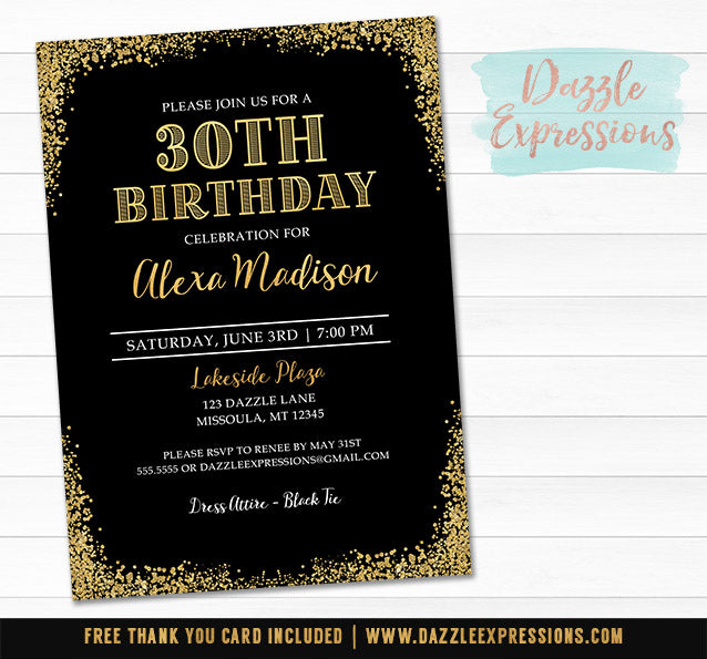 Black and Gold Birthday Invitation 1 - FREE thank you card