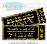 Black and Gold New Years Eve Ticket Invitation 1