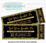 Black and Gold New Years Eve Ticket Invitation 2