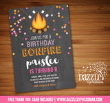 Bonfire Chalkboard Invitation 2 - FREE thank you card