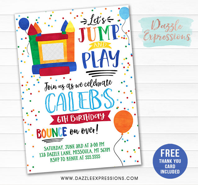 Bounce House Watercolor Invitation - FREE thank you card