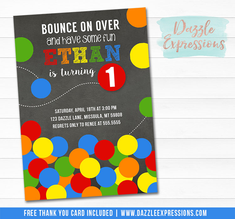 Bouncy Ball Chalkboard Birthday Invitation 2 - FREE thank you card included