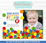 Bouncy Ball Birthday Invitation 1 - FREE thank you card included
