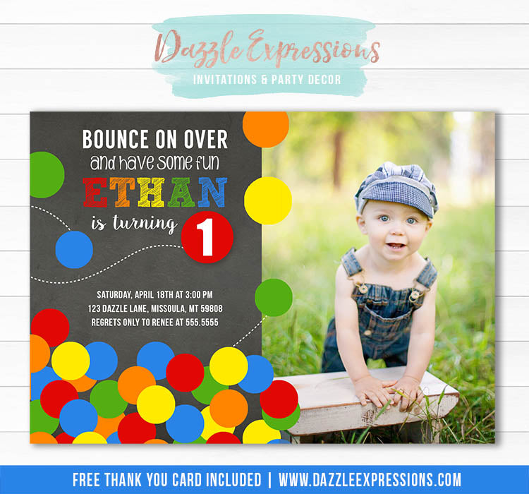 Bouncy Ball Chalkboard Birthday Invitation 1 - FREE thank you card included
