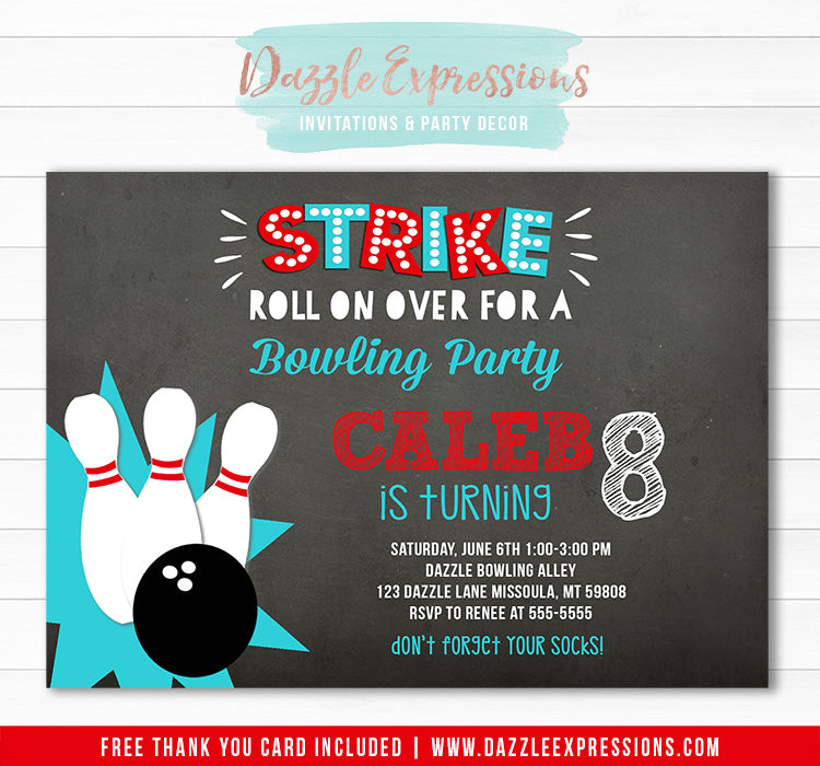 Bowling Chalkboard Invitation 1 - FREE thank you card included