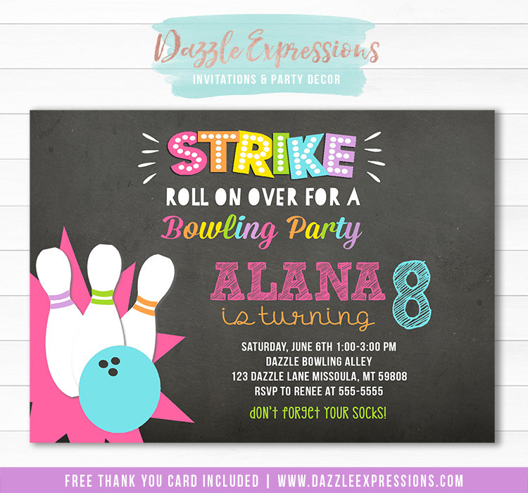 Bowling Chalkboard Invitation 2 - FREE thank you card included