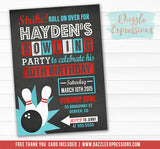 Bowling Chalkboard Invitation 3 - FREE thank you card included