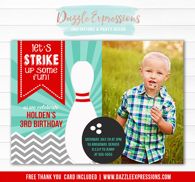 Bowling Birthday Invitation 3 - FREE Thank You Card Included