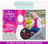 Bowling Birthday Invitation 4 - FREE Thank You Card Included