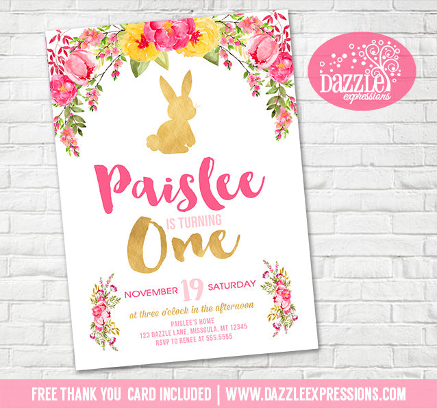 Bunny Rabbit Floral Birthday Invitation 1 - FREE thank you card