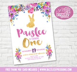 Bunny Rabbit Floral Birthday Invitation 2 - FREE thank you card