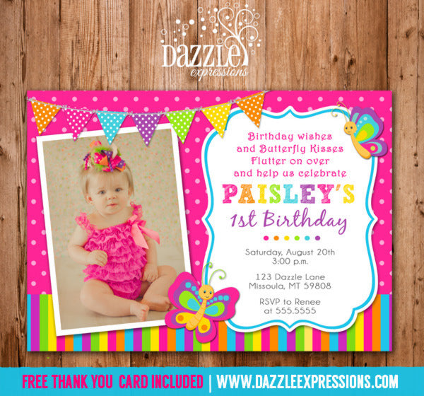 Butterfly Birthday Invitation - Thank You Card Included