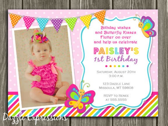 Butterfly Birthday Invitation 2 - Thank You Card Included