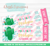 Cactus Float Pool Party Ticket Invitation - FREE thank you card