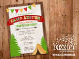 Camping Birthday Invitation 1 - FREE thank you card included