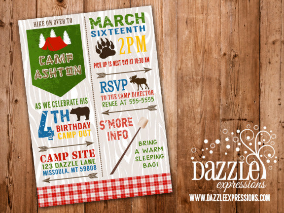 Camping Birthday Invitation 2 - FREE thank you card included