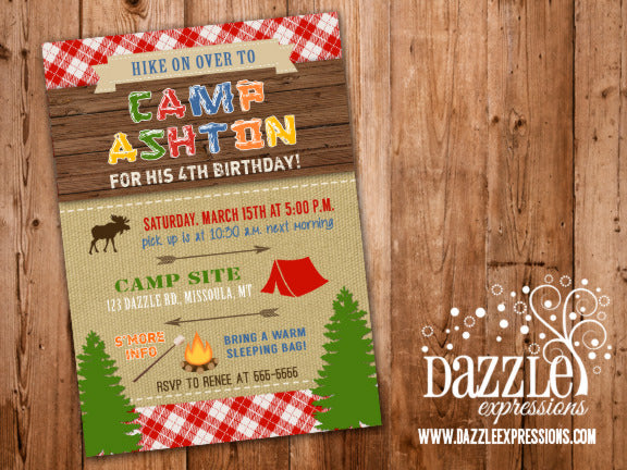 Camping Birthday Invitation 3 - FREE thank you card included
