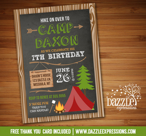 Camping Birthday Invitation 4 - FREE thank you card