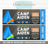 Camping Chalkboard Ticket Invitation 2 - FREE thank you card included