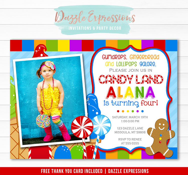 Candy Land Birthday Invitation - Thank You Card Included