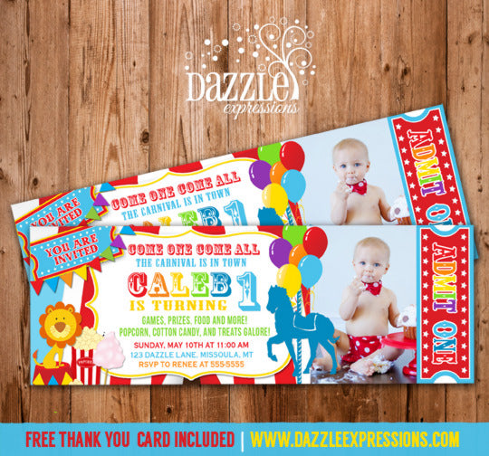 Carnival Ticket Birthday Invitation - FREE thank you card included