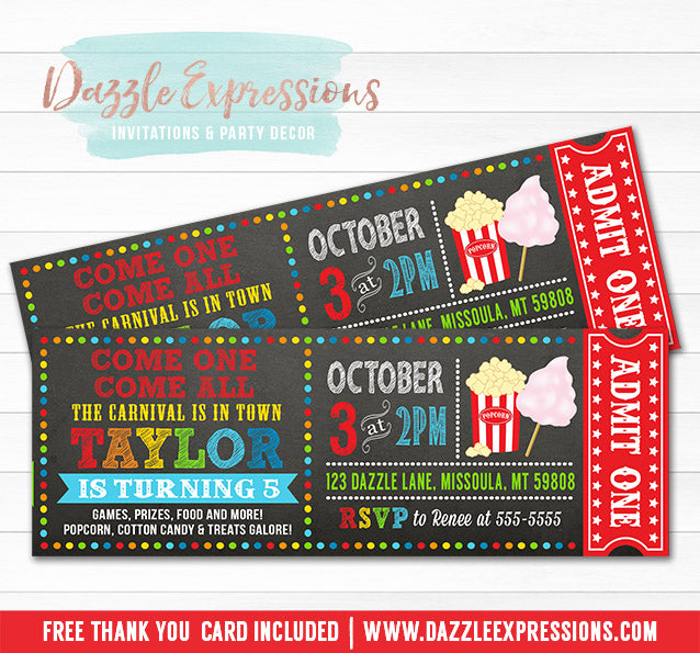 Carnival Chalkboard Ticket Invitation 1 - FREE thank you card
