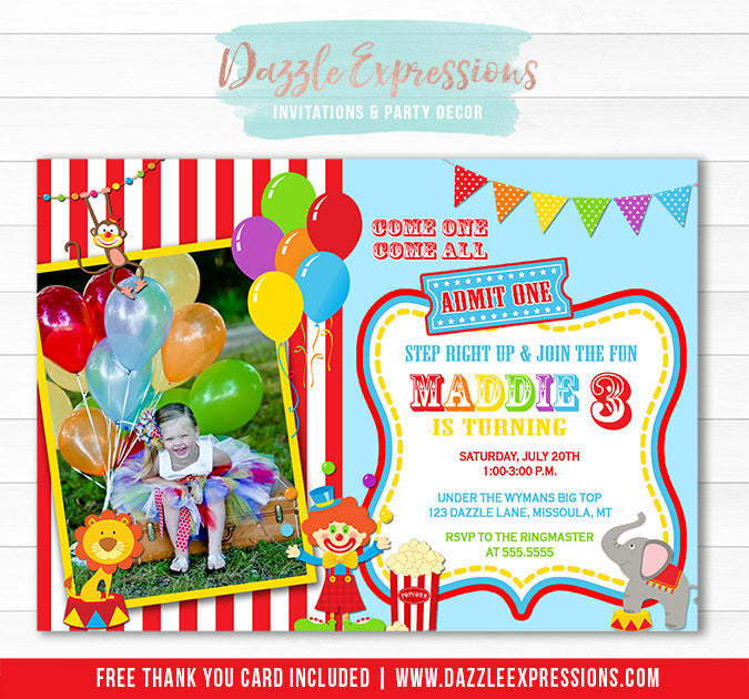 Circus or Carnival Birthday Invitation 1 - Thank You Card Included