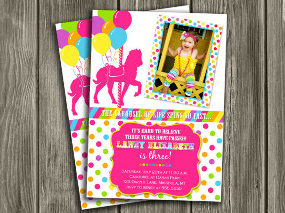 Carousel Birthday Invitation 3 - thank you card included