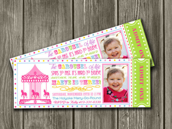 Carousel Ticket Invitation 4 - Thank You Card Included
