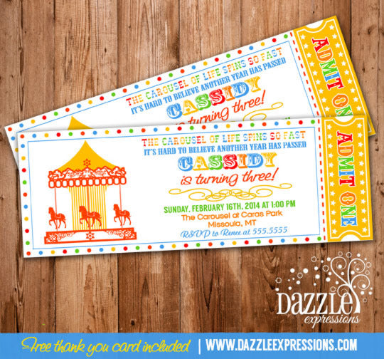 Carousel Ticket Invitation 5 - FREEThank You Card Included