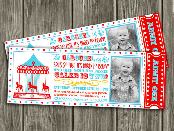 Carousel Ticket Invitation 3 - Thank You Card Included