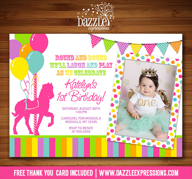 Carousel Birthday Invitation 5 - Thank You Card Included