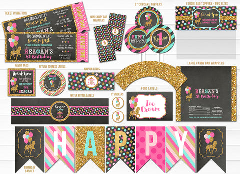 Carousel Chalkboard Glitter Party Package - Printable