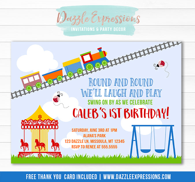 Carousel Park and Train Invitation 2 - FREE thank you card included