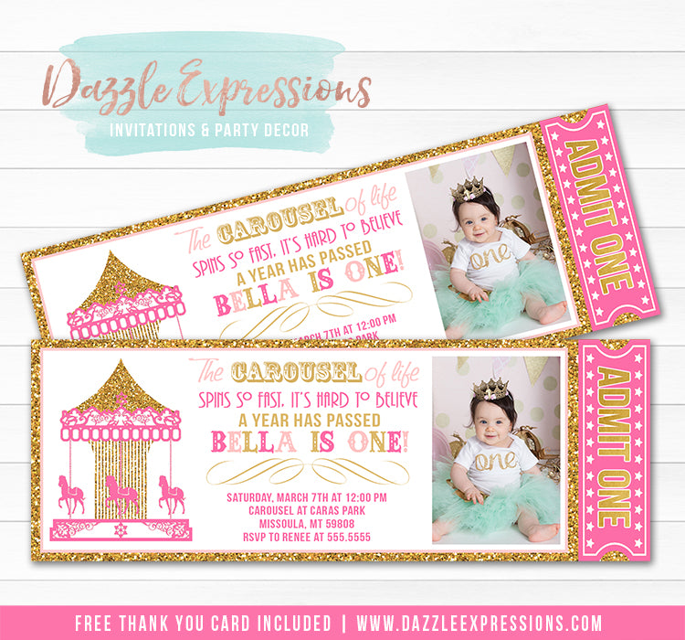 Carousel Ticket Invitation 6 - FREE thank you card included