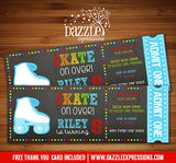 Roller Skating Chalkboard Ticket Invitation 4 - FREE thank you card