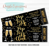 Champagne New Years Eve Ticket Invitation