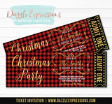 Plaid Christmas Party Ticket Invitation