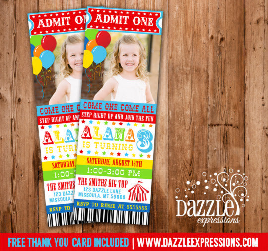 Circus Ticket Birthday Invitation 4 - Thank You Card Included
