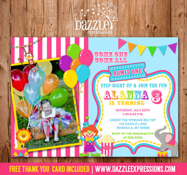 Circus or Carnival Birthday Invitation 5 - FREE thank you card included