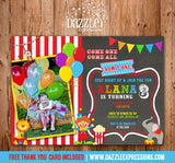 Circus or Carnival Chalkboard Birthday Invitation 7 - FREE thank you card included