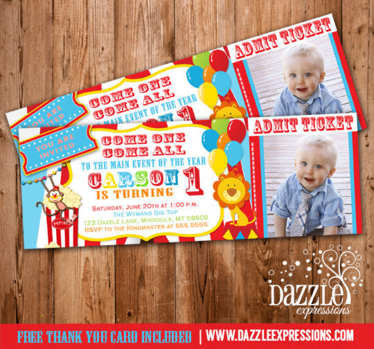 Circus Ticket Birthday Invitation 3 - FREE thank you card included